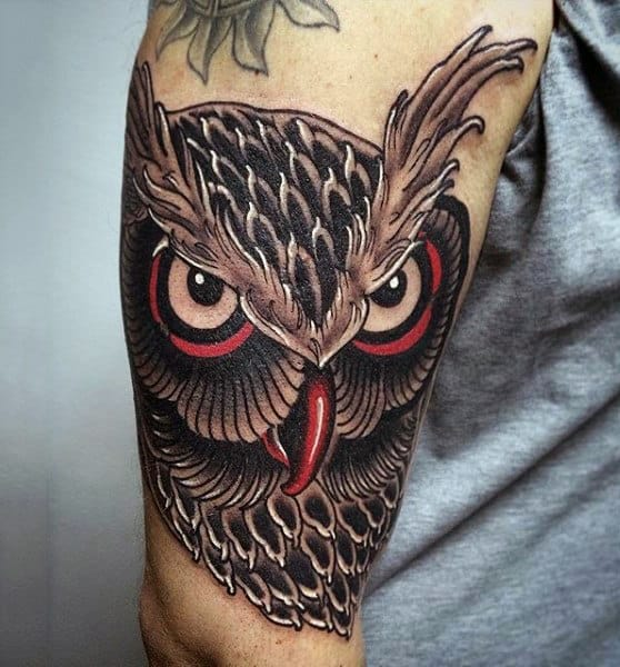 Masculine Mens Badass Owl With Red And Black Ink Tattoo