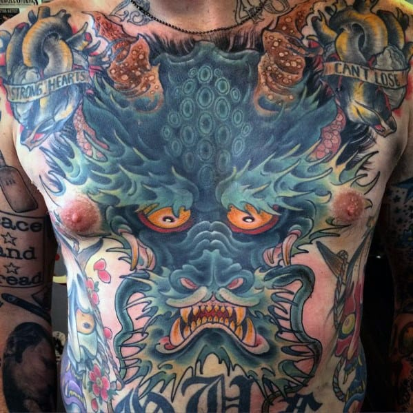 Masculine Mens Blue Dragon Chest Tattoo Ideas