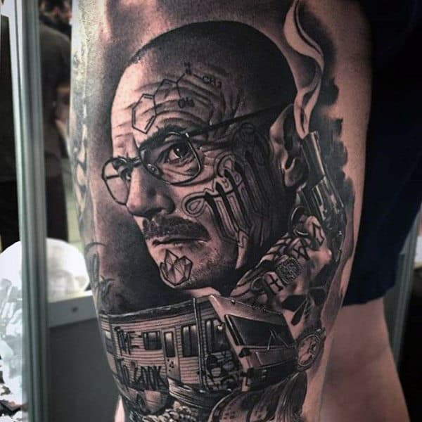 Masculine Mens Breaking Bad Thigh Tattoo Designs