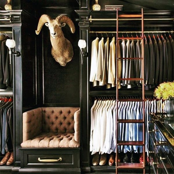 Masculine Mens Closet Design With Ladder