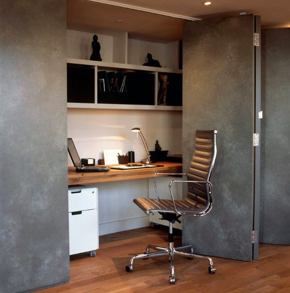 Masculine Mens Closet Office Design Inspiration