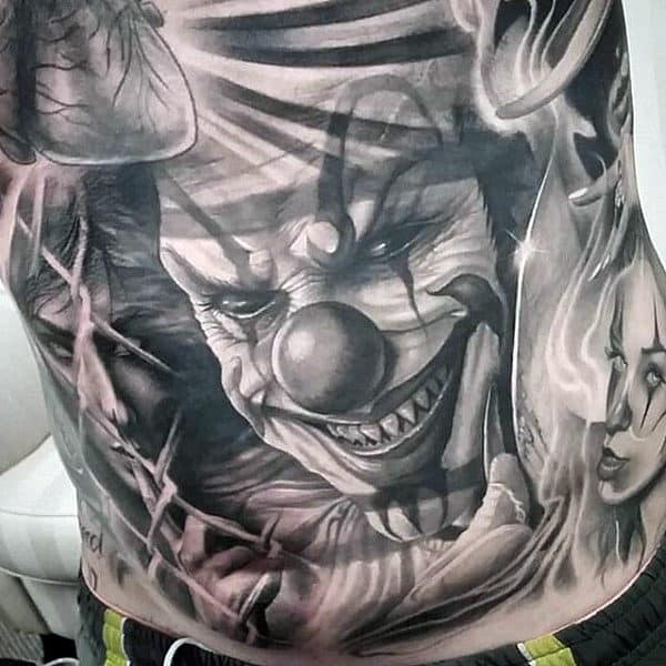 Masculine Mens Clown Chicano Full Chest Tattoos