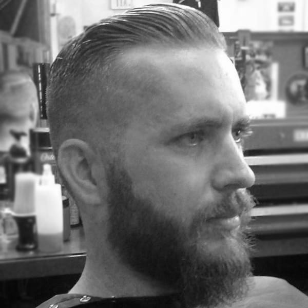 Masculine Mens Comb Over Fade Hairstyle