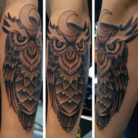Masculine Men's Evil White Owl Tattoo
