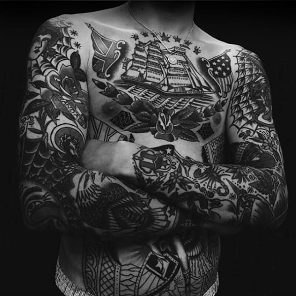 Masculine Mens Full Ship Traditional Upper Chest Tattoo Design Ideas