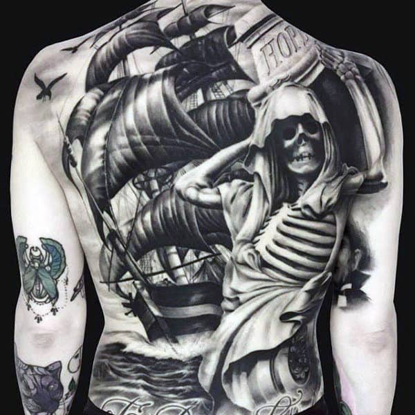 Masculine Men's Full Skeleton Tattoo On Back