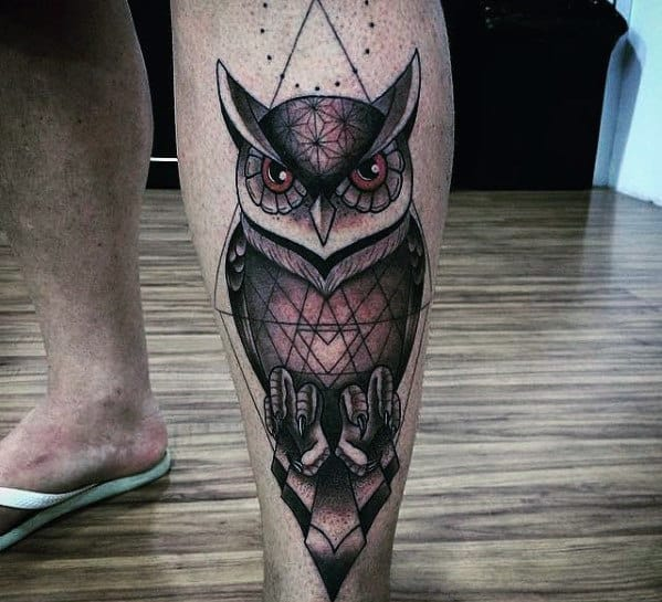 Masculine Mens Geometric Owl Shin Tattoos