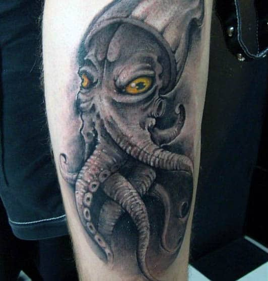 Masculine Mens Grey Squid Tattoo With Yellow Eyes On Arm