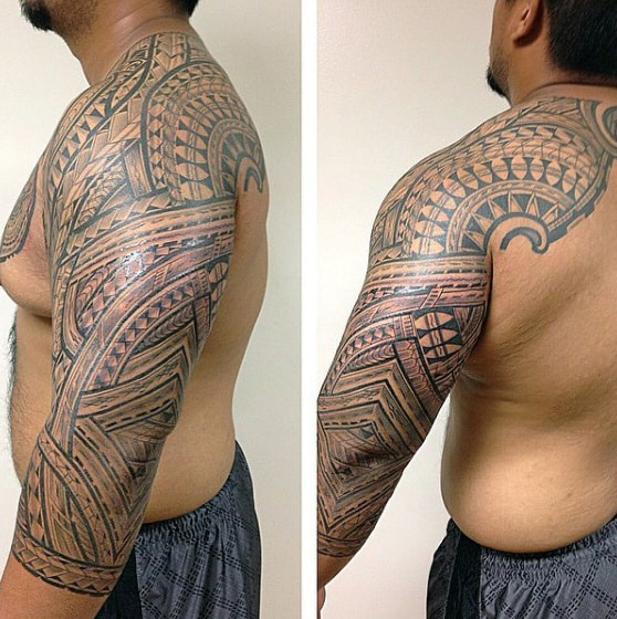Masculine Mens Half Sleeve And Shoulder Samoan Tattoos