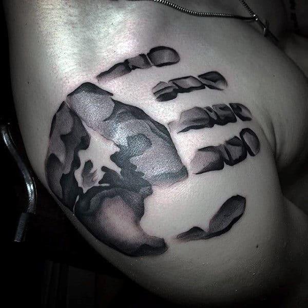 Masculine Mens Handprint Shoulder Tattoos