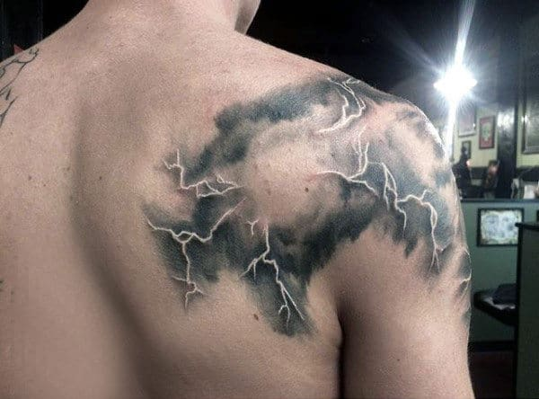 Masculine Mens Lightning Tattoos On Shoulder