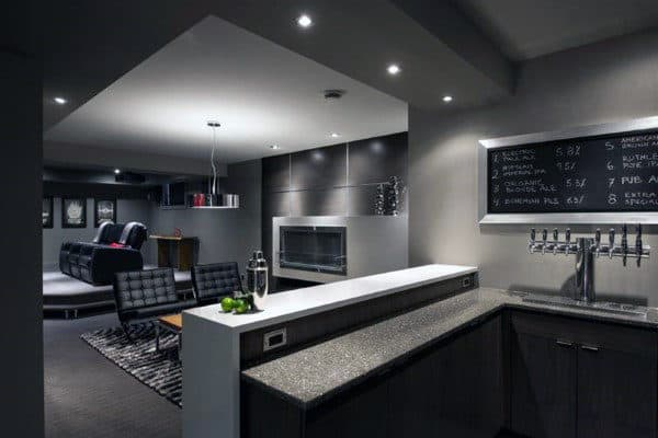Masculine Mens Modern Home Basement Design Inspiration