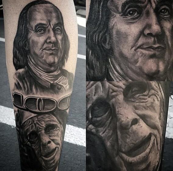 Masculine Men's Money Talks Tattoo One Hundred Dollar Bill