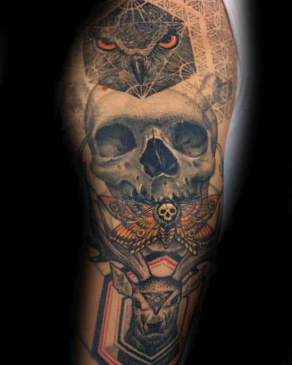Masculine Mens Moth Arm Tattoo Ideas