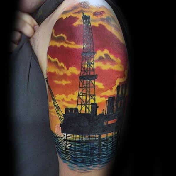 Masculine Mens Oilfield Ocean Tattoo Half Sleeve