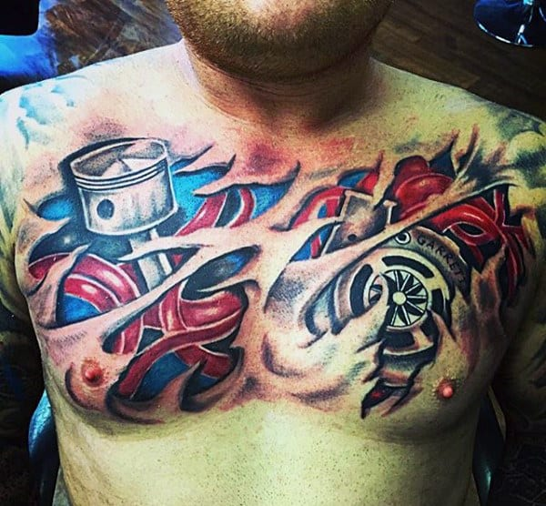 Masculine Men's Piston Tattoo On Chest Torn Open