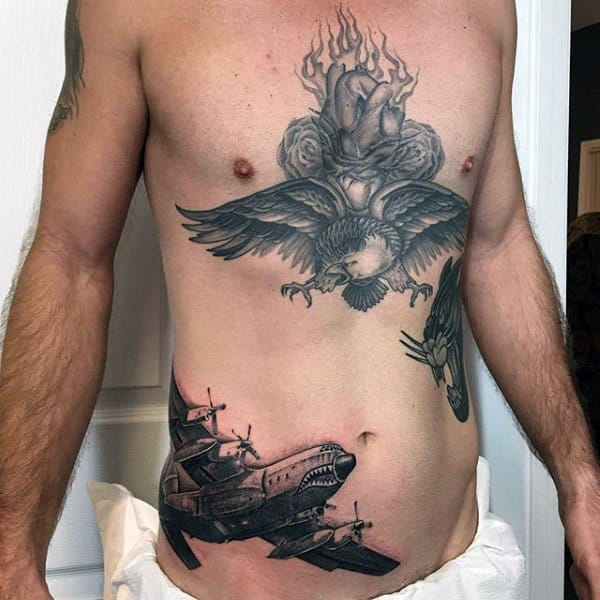 Masculine Mens Rib Cage Side Airborne Tattoo