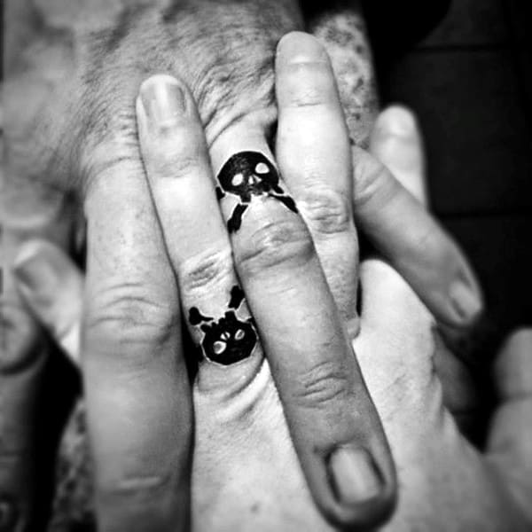 Masculine Mens Ring Finger Tattoos Of Skulls