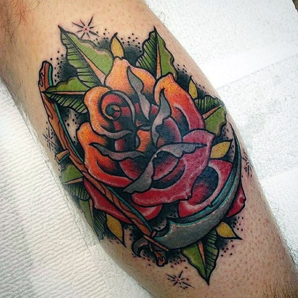 Masculine Mens Rose With Scythe Colorful Leg Calf Tattoo