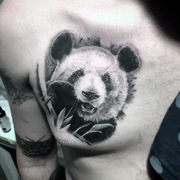 Masculine Mens Shaded Panda Tattoo On Upper Chest