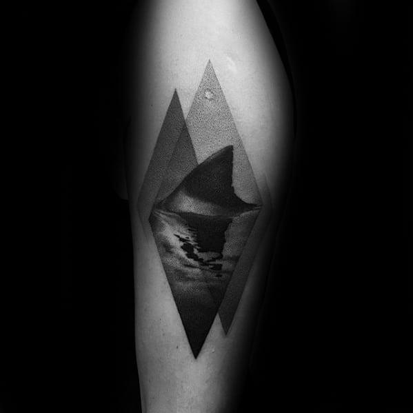 Masculine Mens Shark Fin Thigh Tattoo Designs