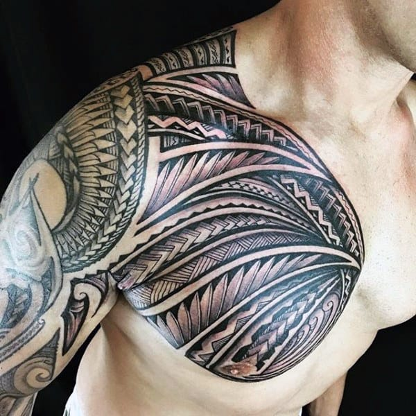 Masculine Mens Shoulder Polynesian Tribal Tattoos