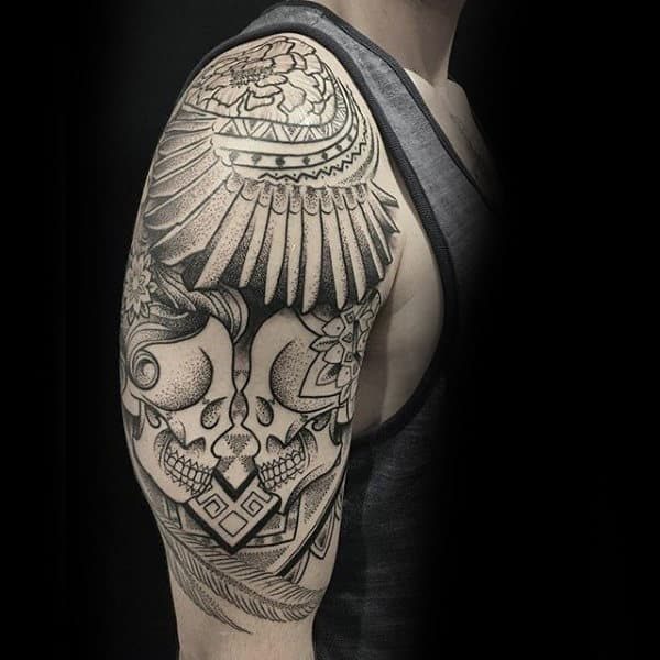 Masculine Mens Shoulders Dotwork Tattoo Design Ideas