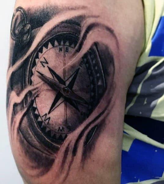Masculine Men's Simple Compass Tattoos