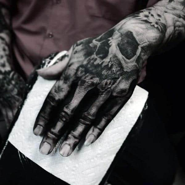 Masculine Men's Skeleton Tattoo Hands And Wrist