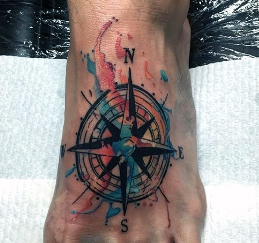 Masculine Men's Star Compass Tattoo On Foot