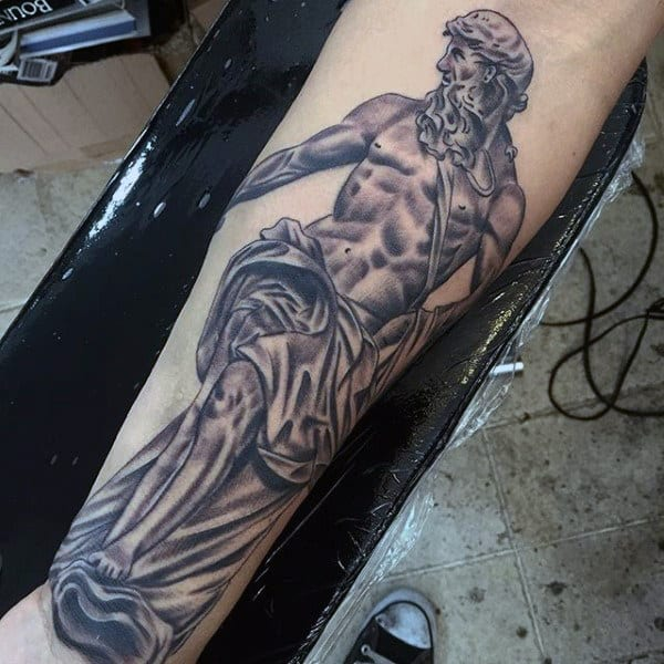 Masculine Men's Tattoos Of Greek Gods On Wrist And Forearm