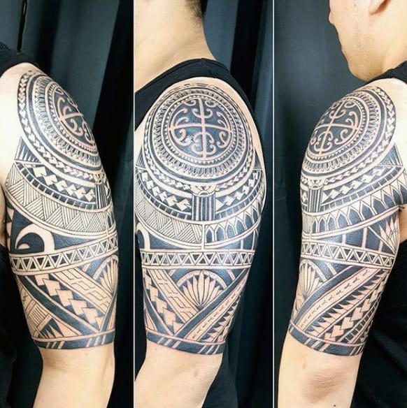 Masculine Mens Tribal Half Sleeve Tattoo Designs