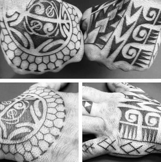 Masculine Mens Tribal Hand Tattoo Design Inspiration