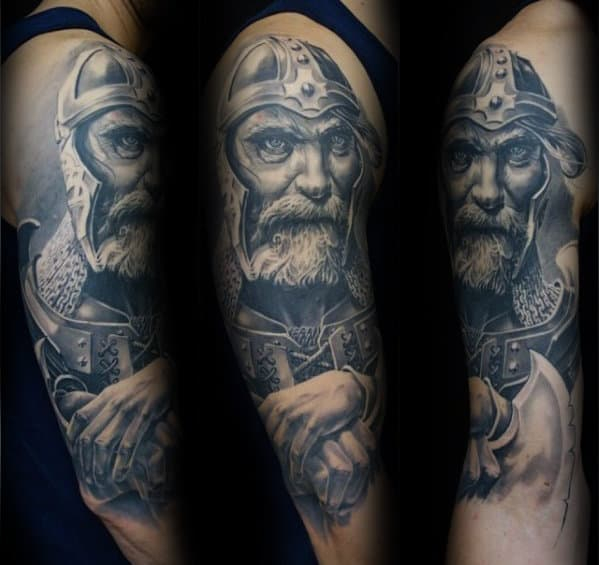 Masculine Mens Viking Warrior 3d Tattoo On Arm