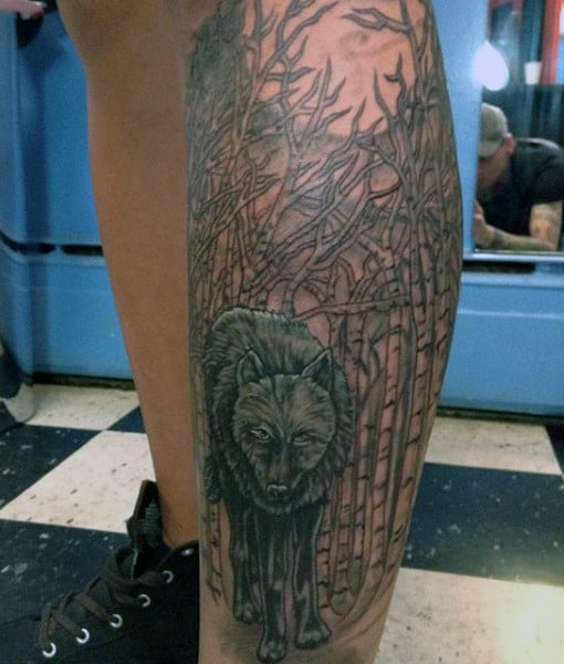 Masculine Men's Wolf Tribal Tattoo