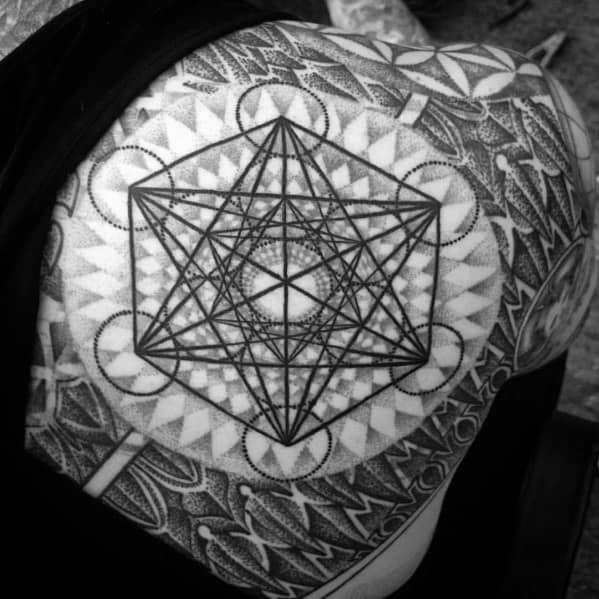 Masculine Metatrons Cube Tattoos For Men