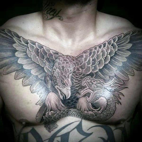 Masculine Mexican Eagle Male Upper Chest Shaded Tattoos