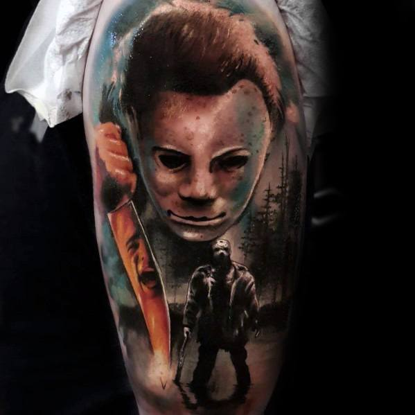 Masculine Michael Myers Tattoos For Men Half Sleeve