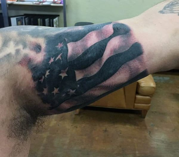 Masculine Military American Flag Tattoos On Bicep