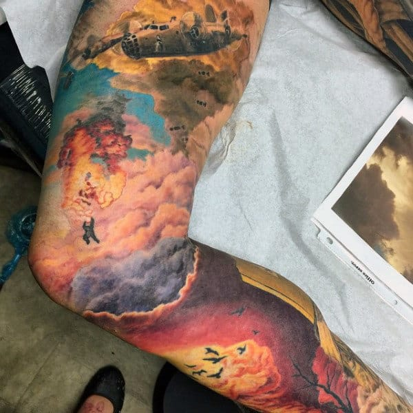 Masculine Military Plane Fire Sky Sleeve Tattoo Ideas