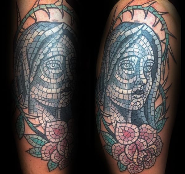 Masculine Mother Mary Mosaic Rose Flower Arm Tattoos For Men