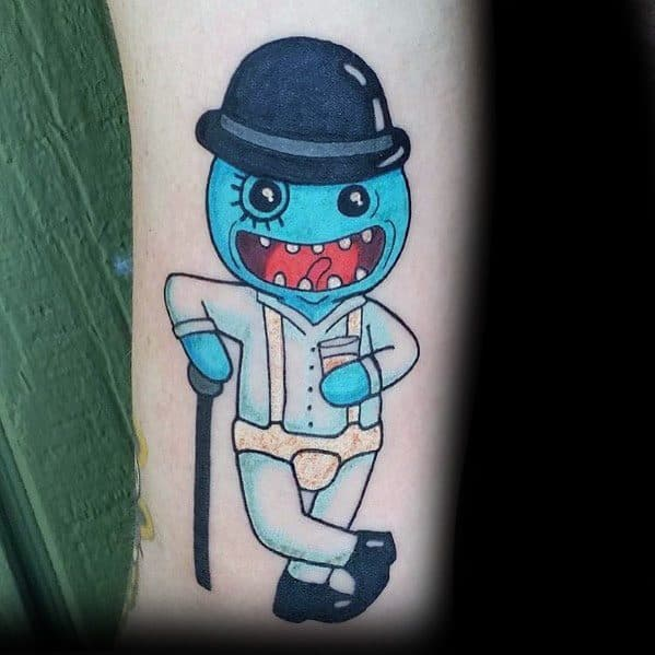 Masculine Mr Meeseeks With Top Hat Tattoos For Men