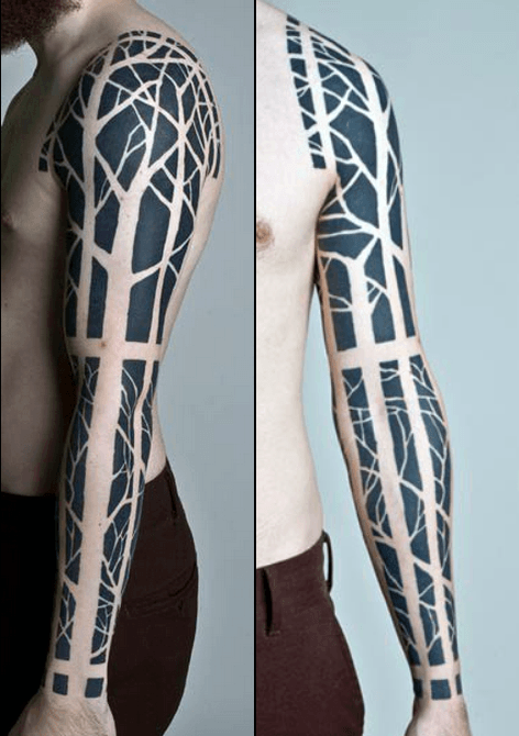 Masculine Nature Blackwork Tree Tattoo Sleeve For Men