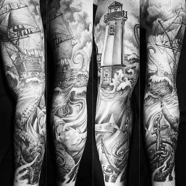 Masculine Nautical Sleeve Male Tattoos