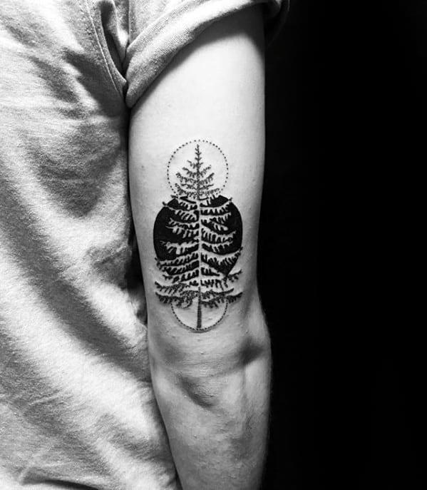 Masculine Negative Space Tree Guys Simple Tattoo Ideas