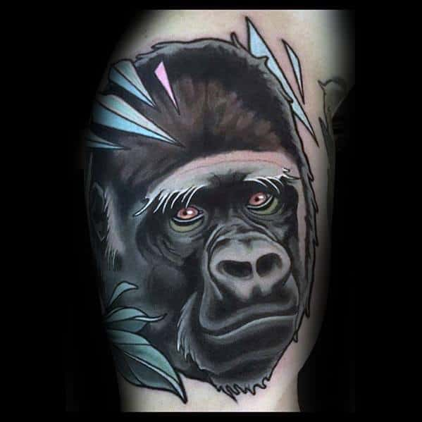 Masculine Neo Traditional Gorilla Tattoos For Men