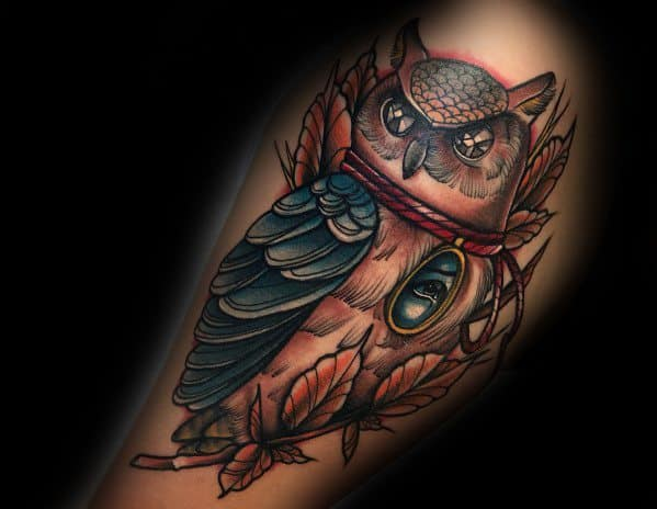 Masculine Neo Traditional Owl Tattoos For Men