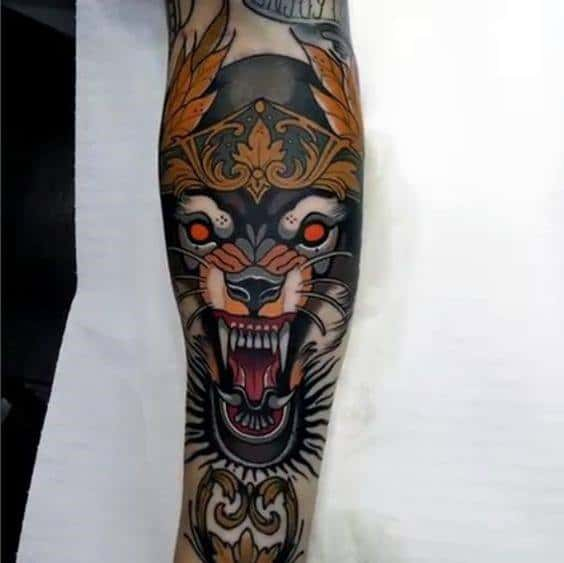 Masculine Neo Traditional Wolf Tattoos For Men