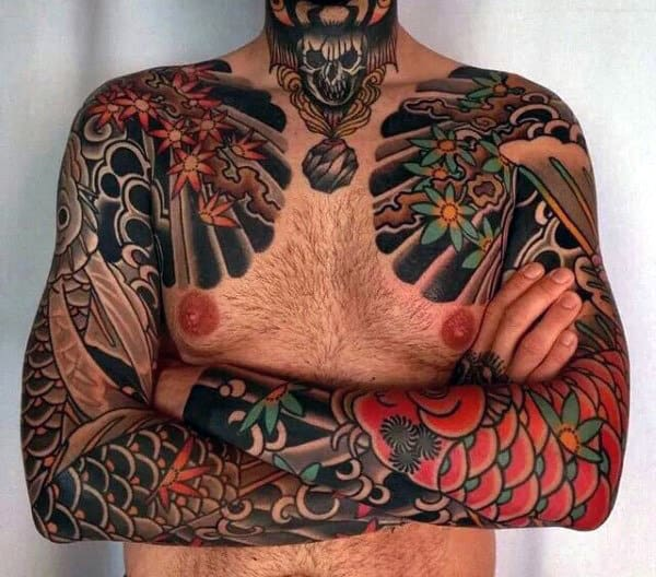 Masculine Nice Guys Tradtional Japanese Full Sleeve Tattoo Designs