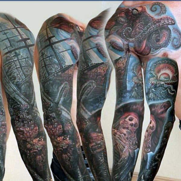 Masculine Ocean Sleeve Mens Tattoo Design Ideas